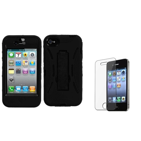 INSTEN Black Phone Case Cover with Stand/ Screen Protector for Apple iPhone 4/ 4S