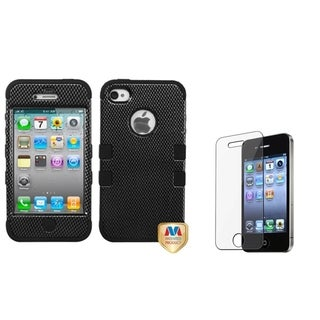 INSTEN Carbon Fiber TUFF Phone Case Cover/ Screen Protector for Apple iPhone 4/ 4S