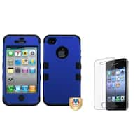 INSTEN Dark Blue Phone Case Cover/ Screen Protector for Apple iPhone 4/ 4S