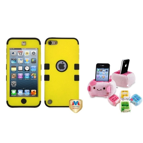 BasAcc Yellow/ Black TUFF Case/ Plush Holder for Apple iPod Touch 5