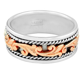 14k Two-tone Gold Men's Handmade Comfort Fit Filigree Wedding Band (More options available)