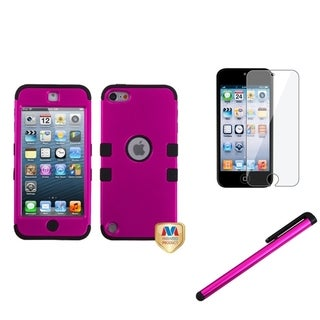 Insten Pink TUFF iPod Case Cover/ Stylus/ Clear LCD Screen Protector for Apple iPod Touch 5th/ 6th