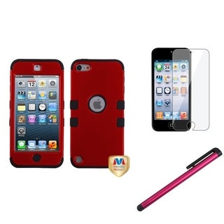 Insten Red TUFF iPod Case Cover/ Stylus/ Clear LCD Protector for Apple iPod Touch 5th/ 6th