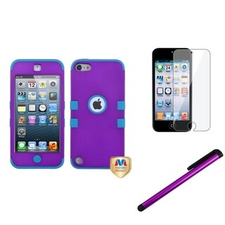 Insten Grape TUFF iPod Case Cover/ Stylus/ Clear LCD Screen Protector for Apple iPod Touch 5th/ 6th