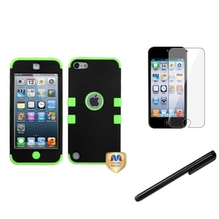 Insten Black TUFF iPod Case Cover/ Stylus/ Clear LCD Screen Protector for Apple iPod Touch 5th/ 6th