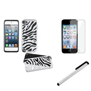 Insten Zebra iPod Case Cover/ Stylus/ Clear LCD Protector for Apple iPod Touch 5th/ 6th