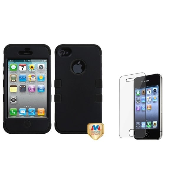 INSTEN Black/ Black TUFF Phone Case Cover/ Screen Protector for Apple iPhone 4/ 4S