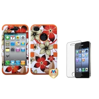 INSTEN Hibiscus TUFF Phone Case Cover/ Screen Protector for Apple iPhone 4/ 4S
