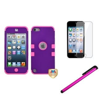 Insten Grape iPod Case Cover/ Stylus/ Clear LCD Screen Protector for Apple iPod Touch 5th/ 6th