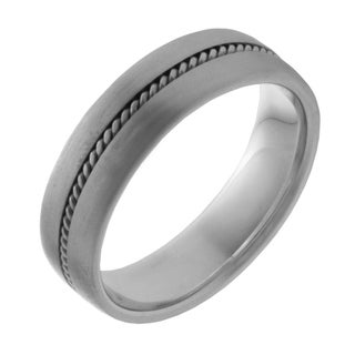 14k White Gold Men's Handmade Comfort Fit Wedding Band