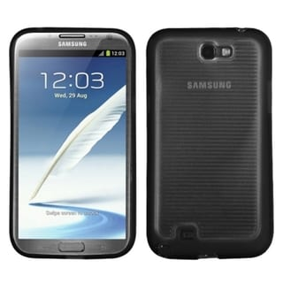 INSTEN Clear/ Black Stripes Gummy Phone Case Cover for Samsung Galaxy Note II