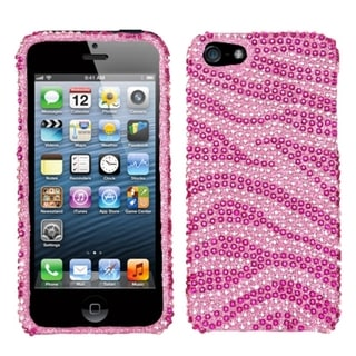 INSTEN Zebra Pink Diamante Protector Phone Case Cover for Apple iPhone 5/ 5S/ SE