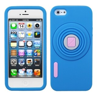 INSTEN Blue Camera Style Stand Pastel Skin Phone Case Cover for Apple iPhone 5 / 5S / SE