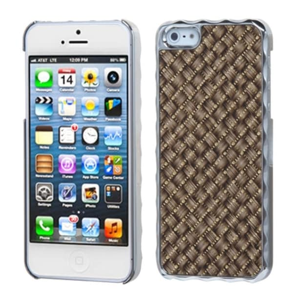 INSTEN Brown Silver Plating/ Golden Alloy Phone Case Cover for Apple iPhone 5 / 5S / SE