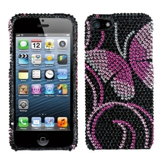 INSTEN Fairyland Butterfly Diamante Protector Phone Case Cover for Apple iPhone 5/ 5S/ SE