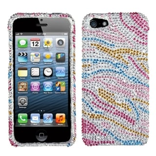 INSTEN Colorful Zebra Diamante Protector Phone Case Cover for Apple iPhone 5/ 5S/ SE