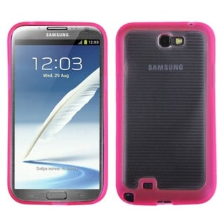 INSTEN Clear/ Pink Stripes Gummy Phone Case Cover for Samsung Galaxy Note II