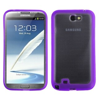 INSTEN Clear/ Purple Stripes Gummy Phone Case Cover for Samsung Galaxy Note II