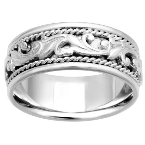 14k White Gold Floral Paisley Design Comfort Fit Men's Wedding Bands