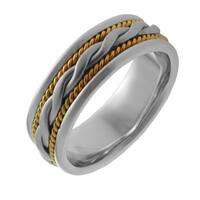 14k Two-tone Gold Men's Handmade Comfort Fit Woven Rope Wedding Band