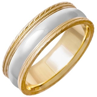 14k Two-tone Gold Men's Handmade Comfort Fit Milligrain Wedding Band