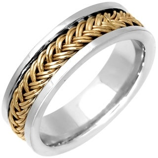 14k Two-tone Gold Men's Handmade Comfort Fit Woven Wedding Band