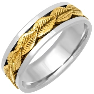 14k Two-tone Gold Men's Handmade Comfort Fit Leaf Wedding Band