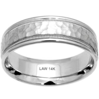 14k White Gold Men's Comfort Fit Handmade Wedding Band (More options available)