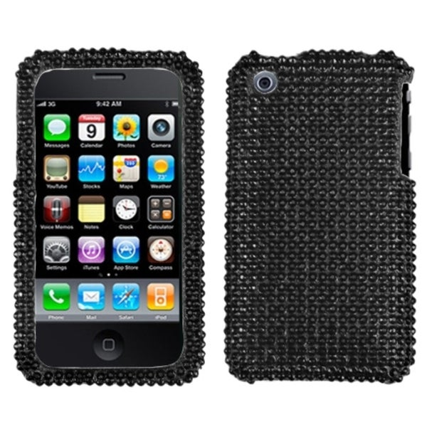 INSTEN Black/ Diamante Phone Case Cover for Apple iPhone 3GS/ 3G