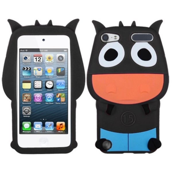 Insten Black/ Light Blue 3D Cow Silicone Skin Gel Rubber Case Cover For Apple iPod Touch 5th/ 6th Gen