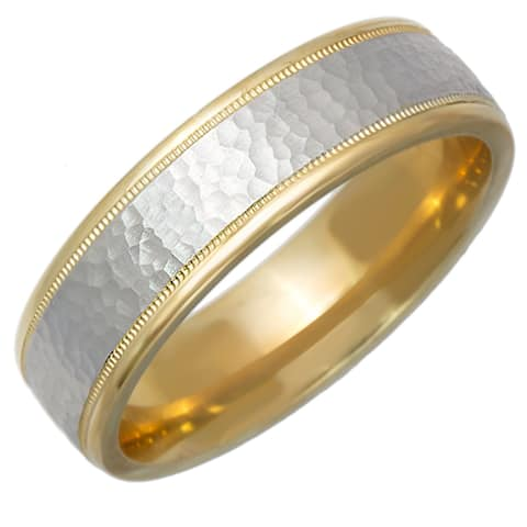 14k Two-Tone Gold Hammered Milgrain Design Comfort Fit Men's Wedding Bands - White