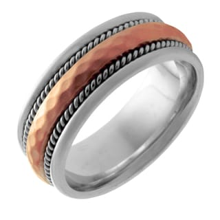 14k Two-tone Gold Men's Comfort Fit Handmade Dual-rope Wedding Band