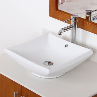Elite 4125F371023C High Temperature Grade A Ceramic Bathroom Sink With Square Design and Chrome Finish Faucet Combo