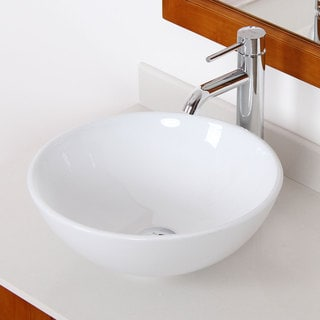 Elite 4157F371023C High Temperature Grade A Ceramic Bathroom Sink With Round Design and Brushed Nickel Finish Faucet Combo