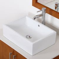 Elite C1481F371023C High Temperature Grade A Ceramic Bathroom Sink With rectangle Design and Chrome Finish Faucet Combo