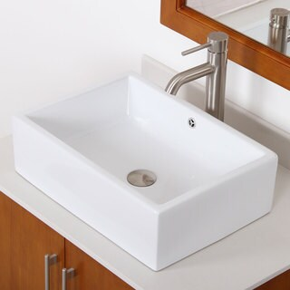 Elite C148F371023BN High Temperature Grade A Ceramic Bathroom Sink With rectangle Design and Brushed Nickel Finish Faucet Combo