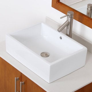 Elite C1482659BN High Temperature Grade A Ceramic Bathroom Sink With rectangle Design and Bushed Nickel Finish Faucet Combo