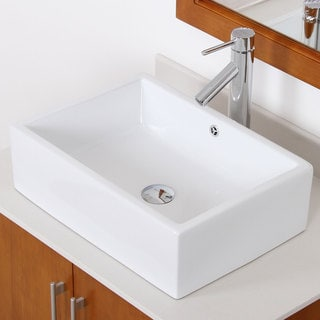 Elite C1482659C High Temperature Grade A Ceramic Bathroom Sink With rectangle Design and Chrome Finish Faucet Combo