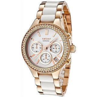DKNY Women's NY8183 Gold Stainless Steel Quartz Watch with White Dial