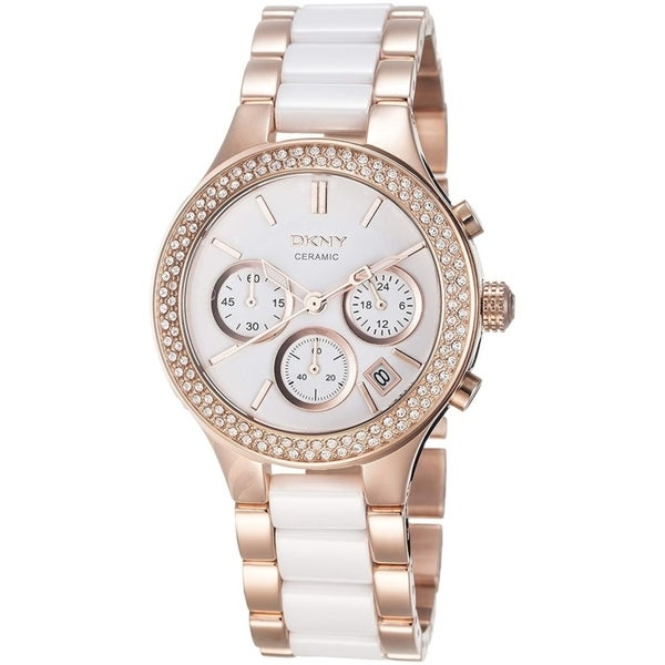 DKNY Women's NY8183 Chronograph White Dial Rose Gold Stainless Steel/White Ceramic Bracelet Watch