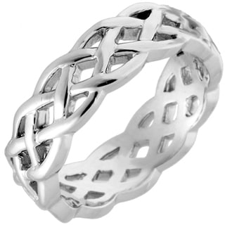 14k White Gold Men's Comfort Fit Celtic Wedding Band