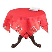 Red Embroidered Floral Cutwork Table Topper