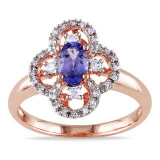 Miadora 10k Rose Gold Tanzanite 1/6ct TDW Diamond Ring (G-H, I1-I2)