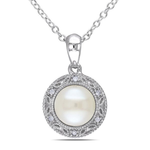 M by Miadora Sterling Silver Freshwater White Pearl and Diamond Necklace (7-7.5)