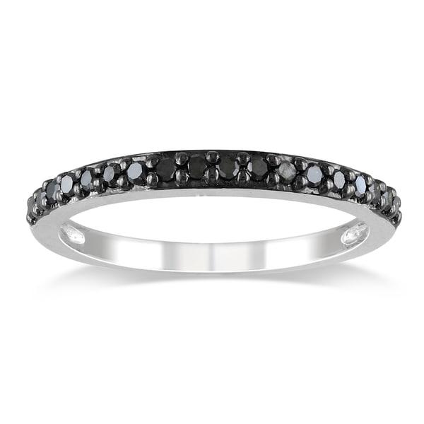 Miadora 10k White Gold 1/4ct TDW Black Diamond Stackable Ring
