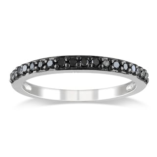 Miadora 10k White Gold 1/4ct TDW Black Diamond Stackable Ring