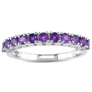 Miadora Sterling Silver Amethyst Eternity Ring