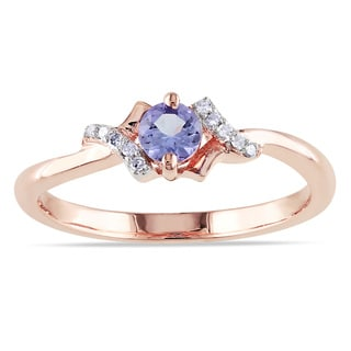 Miadora Rose-plated Silver Round-cut Tanzanite and Diamond Ring
