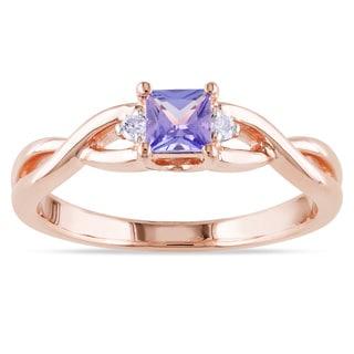 Miadora Rose-plated Silver Blue Tanzanite and Diamond Ring
