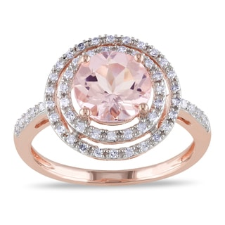 Miadora 10k Rose Gold Morganite and 1/4ct TDW Diamond Cocktail Double Halo Ring (G-H, I2-I3)